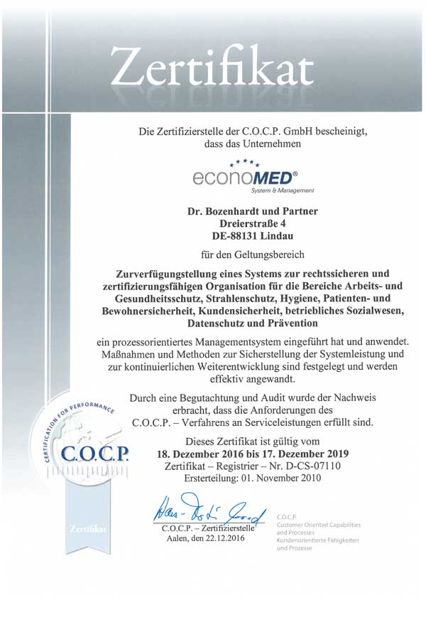C.O.C.P. Certification for performance